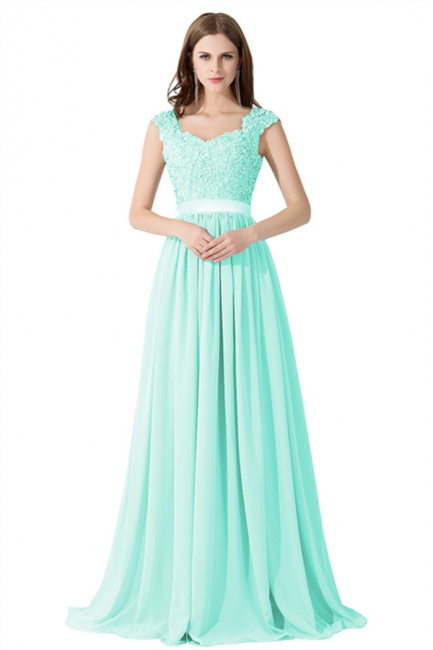 Summer V Neck Chiffon Bridesmaid Dress with Appliques