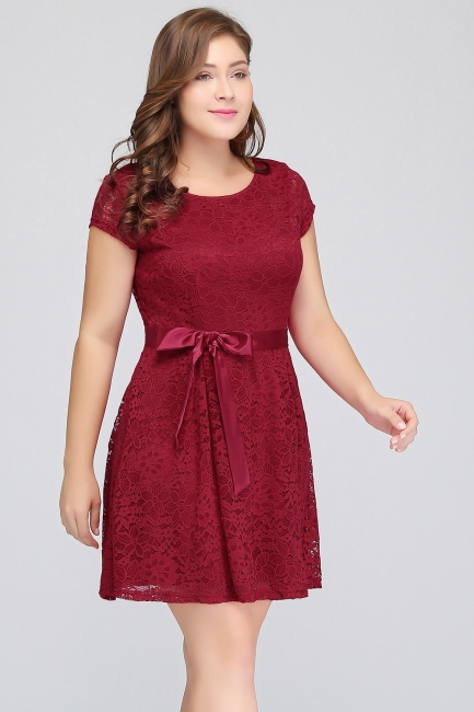 Summer Scoop Short Plus size With Sleeves Lace Burgundy Cocktail Dresses with Bow