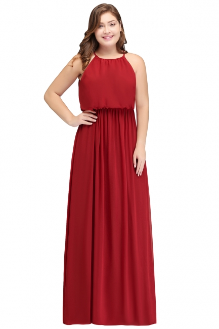 Summer Straps Floor Length Sleeveless Plus size Evening Dresses with Ruffles