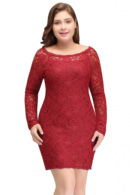 Column Scoop Short Winter Plus size Lace Burgundy Cocktail Dresses