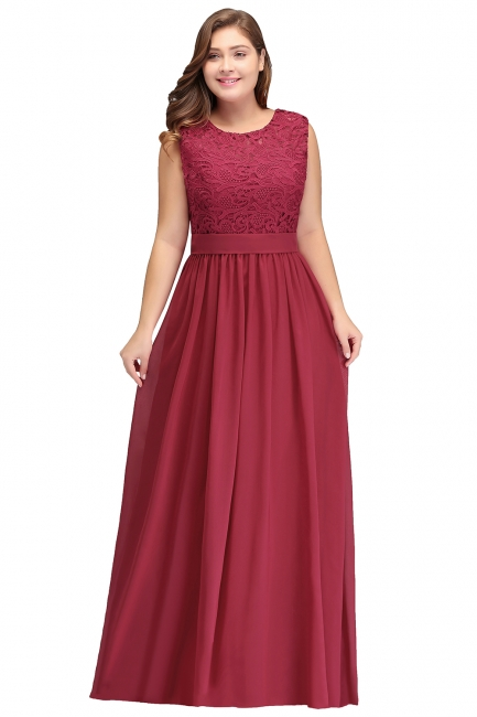 Summer Crew Long Plus size Sleeveless Lace Chiffon Evening Dresses with Sash