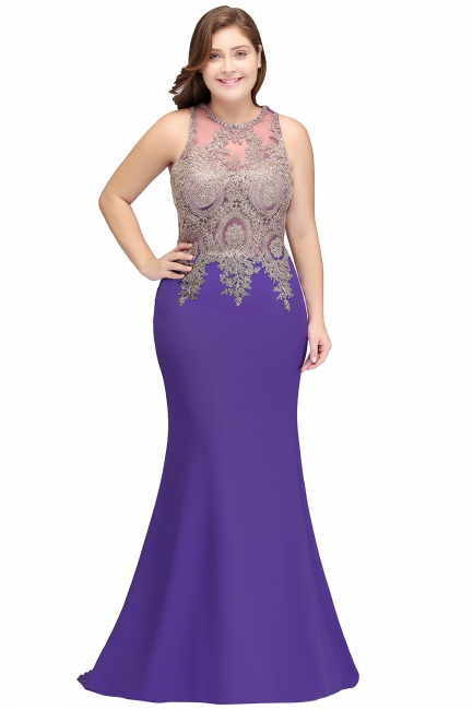 Sexy Trumpt Crew Floor Length Sleeveless Plus size Evening Dresses with Appliques
