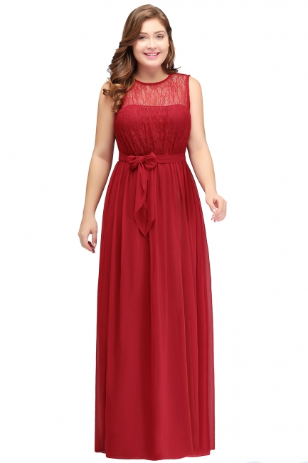 Summer Crew Long Sleeveless Plus size Chiffon Evening Dresses with Ruffles Bow
