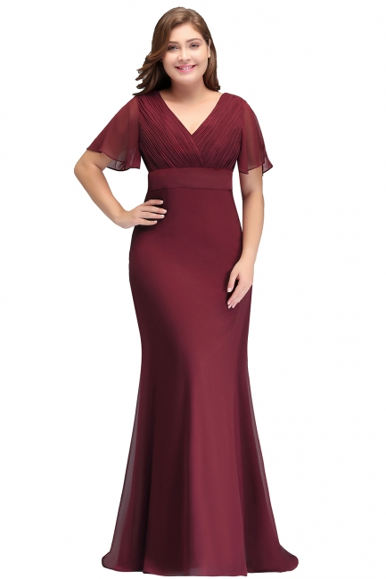 Sexy Trumpt V-neck Floor Length With Sleeves Plus size Burgundy Evening Dresses with Sash
