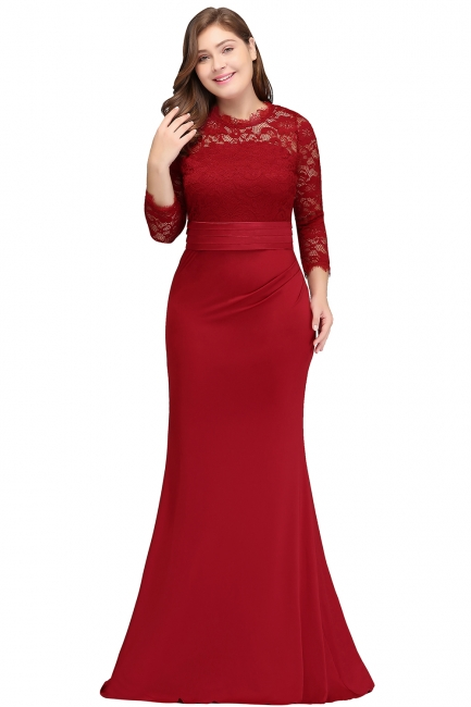 Sexy Trumpt Crew Floor Length Plus size Lace Formal Dresses with Sash