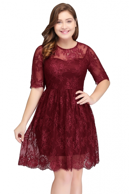 Summer Crew Plus size Half Sleeves Short Lace Burgundy Cocktail Dresses