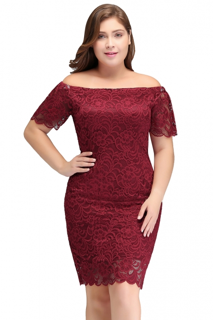 Sexy Trumpt Off-Shoulder Short Plus size Lace Burgundy Cocktail Dresses with Sleeves