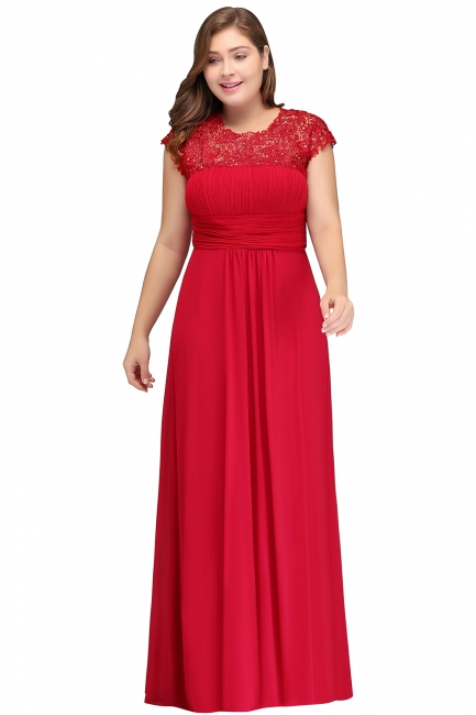 Summer Crew Floor length Plus size Cap sleeves Lace Chiffon Evening Dresses with Appliques