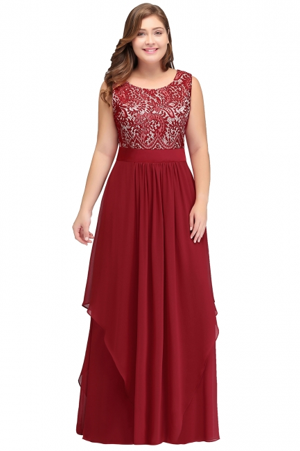 Summer Scoop Plus size Long Sleeveless Lace Appliques Chiffon Evening Dresses