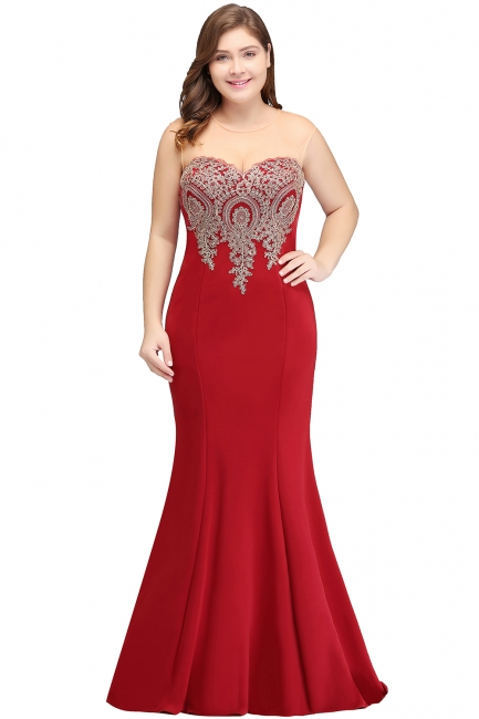 Sexy Trumpt Crew Illusion Plus size Long Sleeveless Burgundy Formal Dresses with Appliques