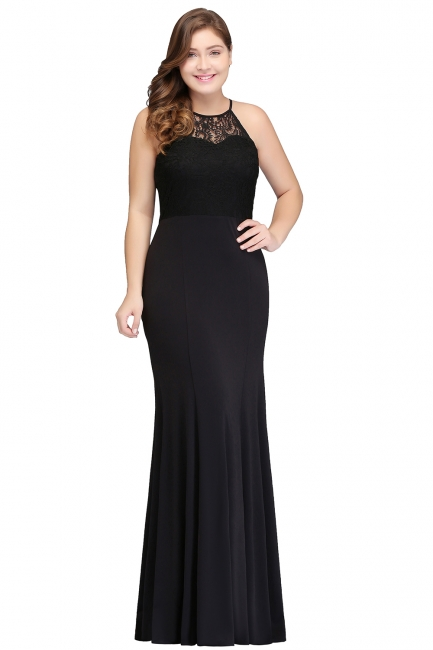 Sexy Trumpt Halter Floor Length Plus size Black Evening Dresses with Lace