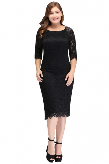 Sexy Trumpt Bateau Tea Length Plus size Lace Black Evening Dresses with sleeves