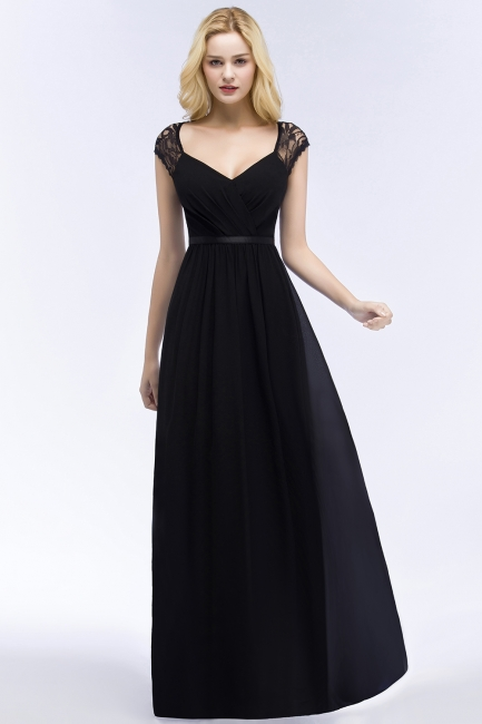 Summer V-neck Floor Length Lace Chiffon Bridesmaid Dresses UK with Sash