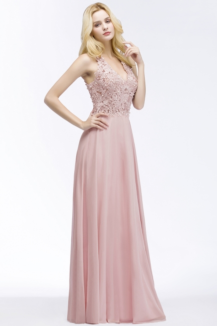 Summer V-neck Sleeveless Long Appliques Chiffon Bridesmaid Dresses UK