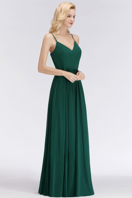 Summer Floor Length V-neck Spaghetti Chiffon Bridesmaid Dresses UK