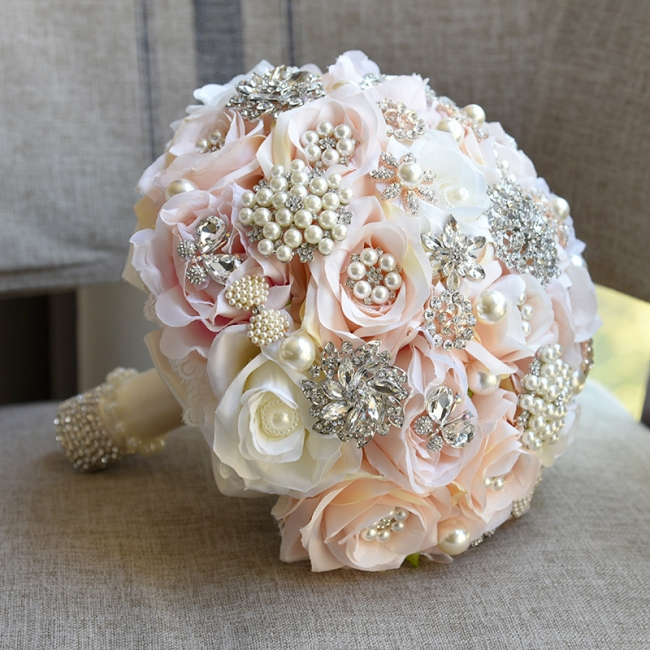 Shiny Crystal Beading Silk Rose Wedding Bouquet UK in White and Pink