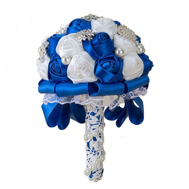 Elegant White Silk Rose Bouquet with Crystal Beading