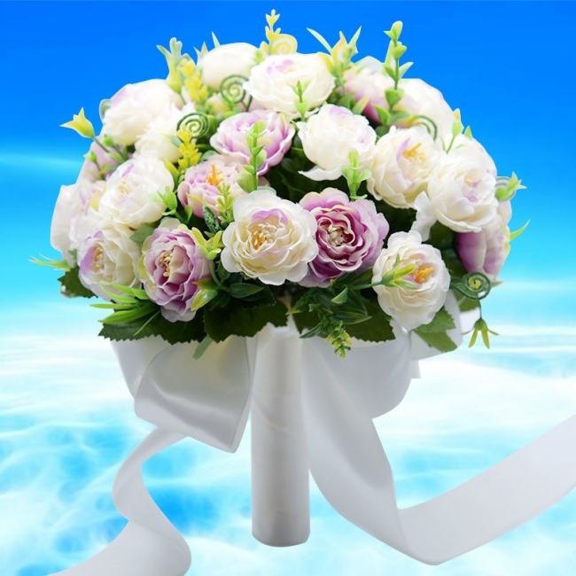 Artificial Rose Wedding Bouquet UK in Two Colors