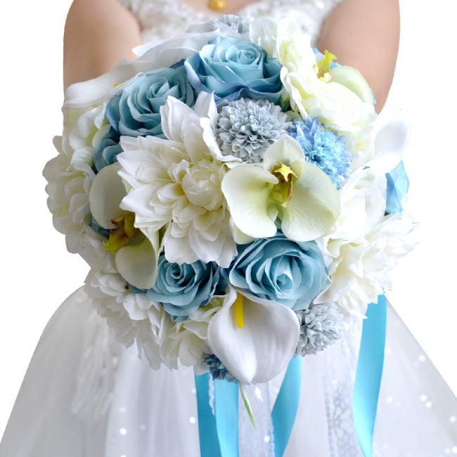 Artificial Camomile and Lily Wedding Bouquet UK in Blue and White