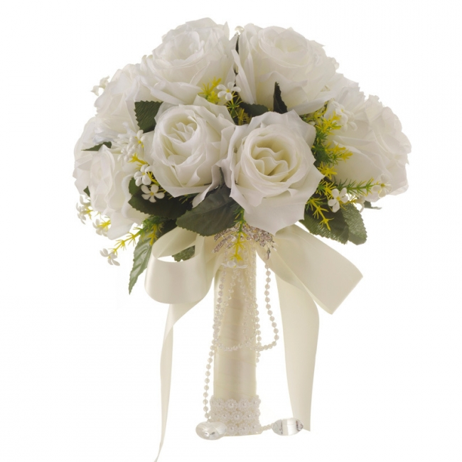White Rose Artificial Wedding Bouquet UK with Handle