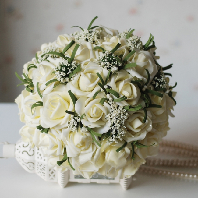 Silk Rose Wedding Bouquet UK in Ivory with Ribbons