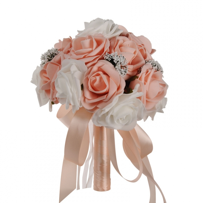 Two Colors Silk Flowers Wedding Bouquet UK with Ribbon