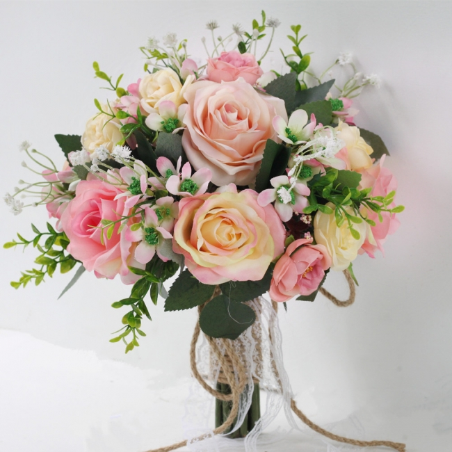 Two colors Artificial Real Touch Rose Online Bouquet for Wedding