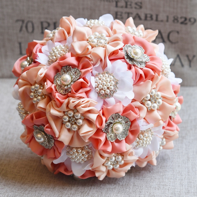 Silk Rose Pearls Wedding Bouquet UK in Three Tune Colors