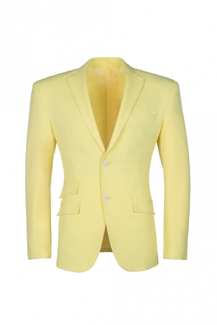 High Quality Peak Lapel Groomsman Slim Fit Daffodil Single Breasted Suit UK