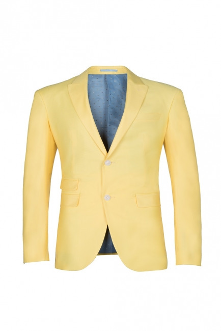 Noched Lapel Two Button Single Breasted Daffodil UK Wedding Suit Slim Fit