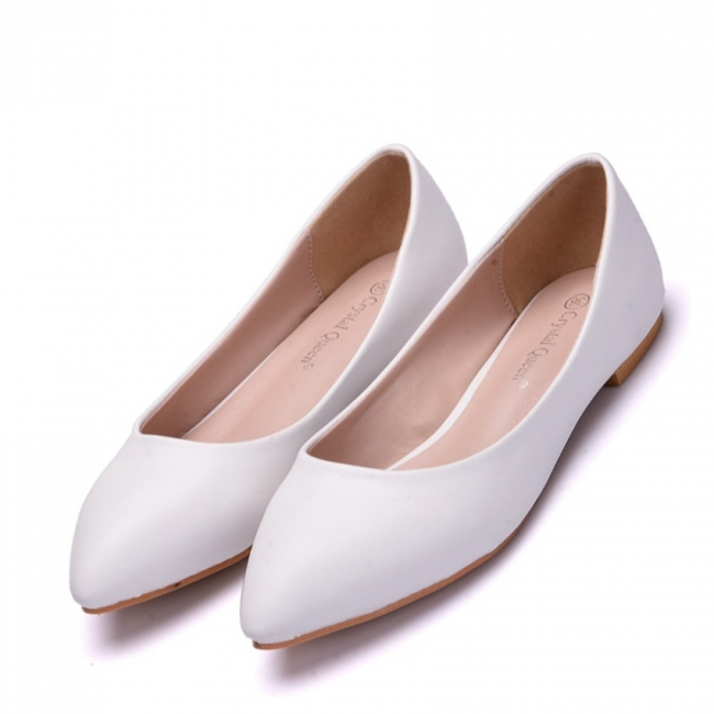 Woman Round Toe PU Flat Wedding Shoes UK