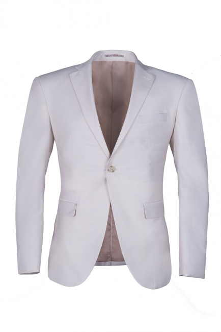 High Quality Customize Casual Suit Groomsman Ivory Peak Lapel Single Breasted UK Wedding Suit