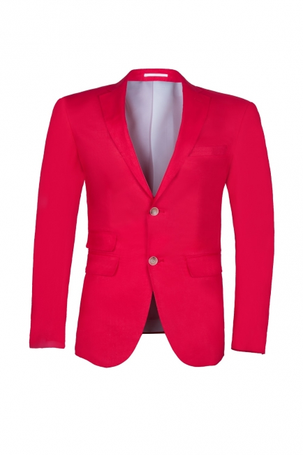 Popular Stylish Design Back Vent Peak Lapel Red Best Men Groomsman Suit UK