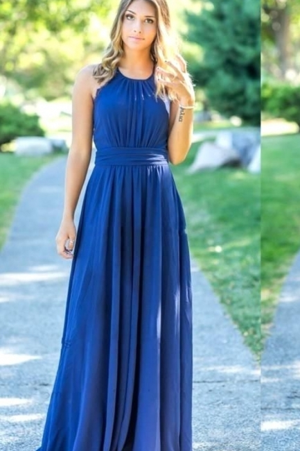 Ocean Blue Halter Chiffon Cheap Bridesmaid Dresses UK | Summer Open Back Floor-length Bridesmaid Dresses UK