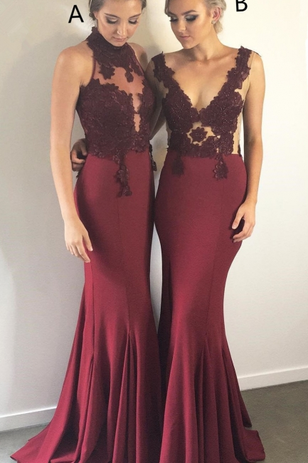 Burgundy Lace Bridesmaid Dresses UK Cheap | Sleeveless Column Spring Maid of Honor Dresses