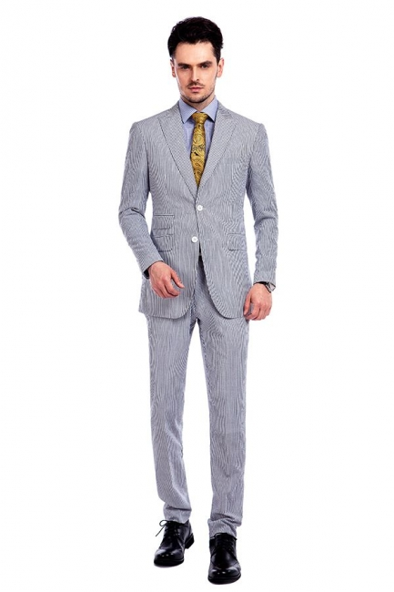 Popular Grey Stripes Breathable Causal Suit for Men | Peak Lapel Customize Single Breasted British Men Suit