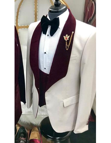 White And Burgundy Wine Burgundy Color Velvet Lapel UK Vested Tuxedo Suit Shawl Collar