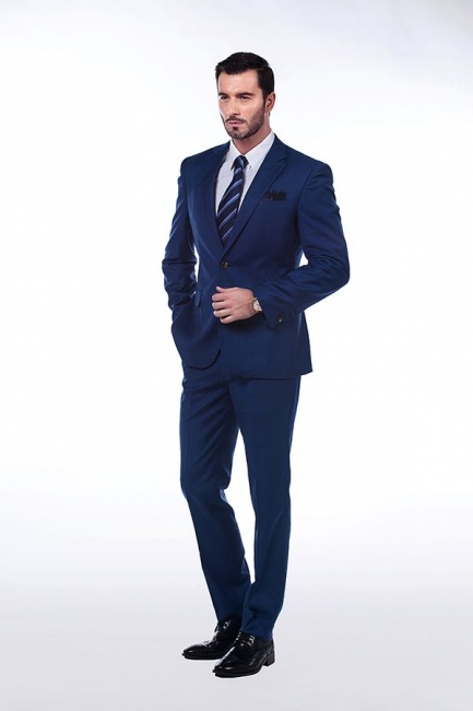 High Quality Blue Peak Lapel Made To Measure Suit | Slim Fit Single Breasted Back Vent UK Wedding Suit