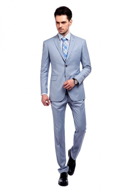 Fashion Light Blue Peaked Lapel Wool Custom Made Suit UK | Three Pockets Single Breasted Wedding British Bestman Suits
