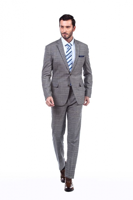 Modern Peak Lapel Grey Checked British Men Suit | 3 Pockets Customize Single Breasted UK Wedding Suit