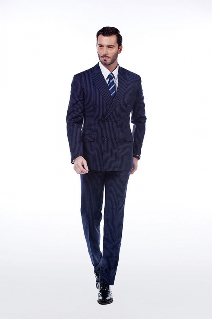 Fashion Double Breasted Navy Blue Made to Measure Suit | Modern Stripe Peak Lapel UK Wedding Suit For Men