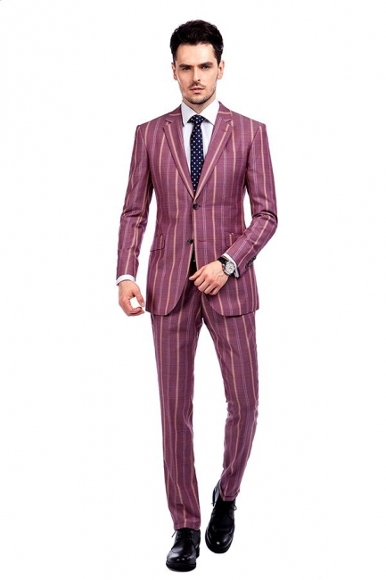 Dark Pink Checks Single Breasted Peaked Lapel Tuxedos | New Arriving Suit Formal Suit for Groomsman