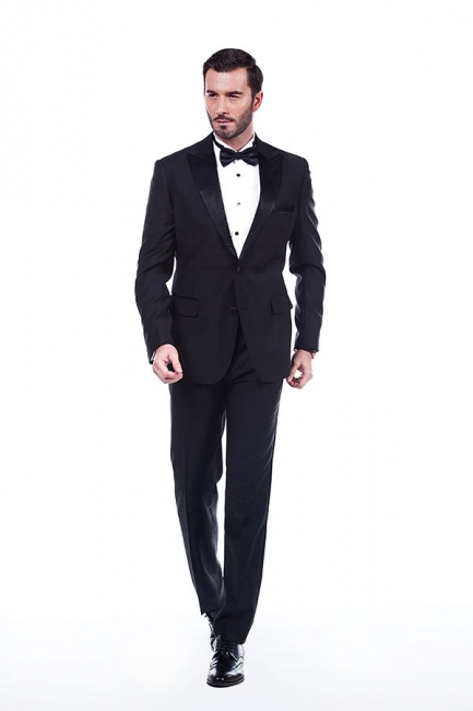 Popular Solid Black Stain Designs Fit Suit | Three Pockets Peaked Lapel Wedding British Bestman Suits
