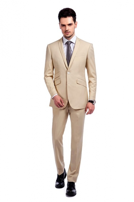 High Quality Bright Khaki Notched Lapel Men Business Suit | Single Breasted 3 Pockets Tailoring Suit