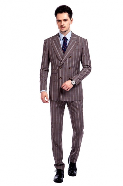 Bespoke Stripe Tailored Double Breasted 2 Piece Suits | Peak Lapel 3 Pocket Customized suit UK For Men