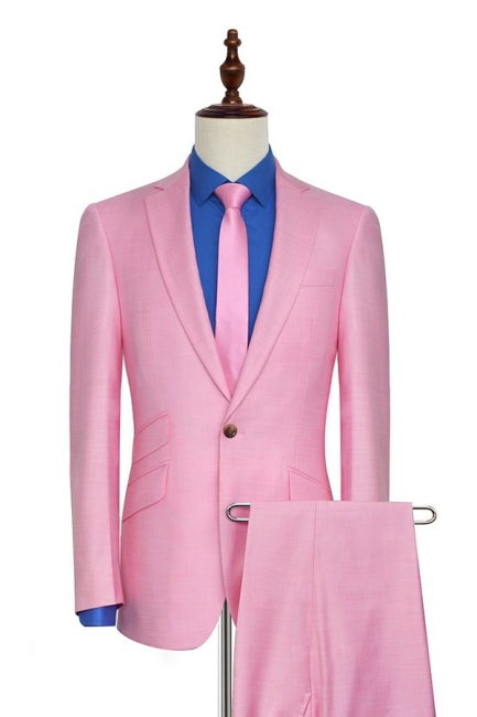Bright Pink Three Slant Pocket Custom Made Suit UK | Single Breasted One Button Bestman Wedding Tuxedos