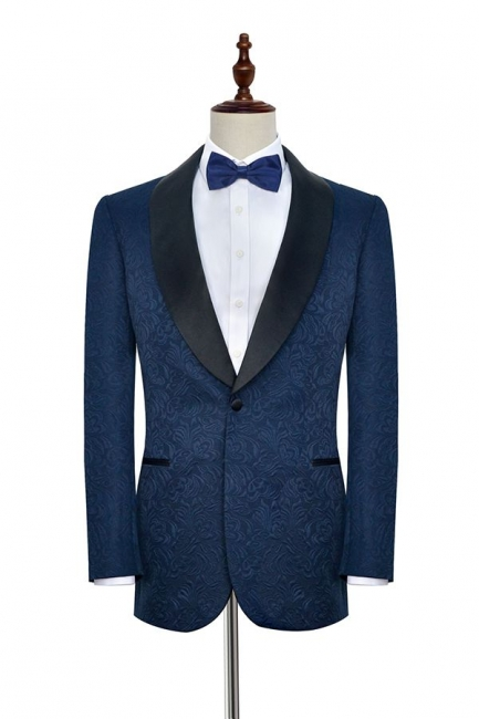 Navy Blue Popular Jacquard Custom Luxury Suit | Single Breasted One Button Bestman Wedding Tuxedos