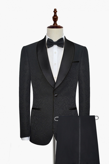 Pure Black Jacquard Shawl Collar One Button Custom Made Suit UK | New Arrival 3 Pockets Single Breasted Slim Fit Groomsman Suit