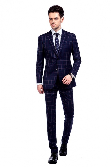New Arrival Navy Blue Checks Two Button Custom Made Suit UK | Peak Lapel Single Breasted Slim Fit Groomsman Suit