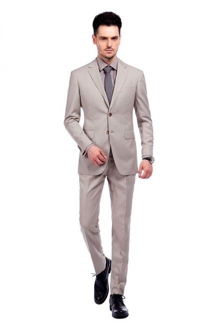 Light Khaki Single Breasted Two Button Custom Suit | High Quality Peaked Lapel Hand Made Wool Suit for Men